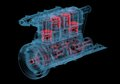 Internal combustion engine d xray red and blue transparent isolated on black background Royalty Free Stock Photos