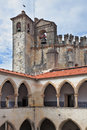 The internal court yard surrounded with gallery majestic medieval castle of templars and belltower Stock Images