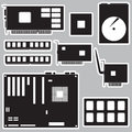 Internal desktop computer components black stickers eps10 Royalty Free Stock Photo