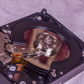 Internal hard disk drive close up of an components Stock Photo