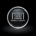 Internal server error icon inside round silver and black emblem