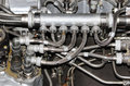 the internal structure of the aircraft engine, with hydraulic, fuel pipes and other hardware  equipment, army aviation, military Royalty Free Stock Photo