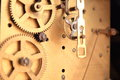 Internal workings of an antique clock movement Royalty Free Stock Photo
