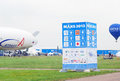 International aerospace salon maks banner of an aerostat and a balloon flying in the sky taken on august in zhukovsky moscow Stock Image