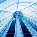 International airport elevator many people using escalator blurred motion Royalty Free Stock Photography