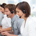 International business team with headset on Royalty Free Stock Photo