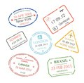 International business travel visa stamps set Royalty Free Stock Photo