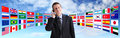 International businessman talking on the phone, global communication Royalty Free Stock Photo