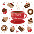 International Cake Day. Mug of tea and muffin. July 20.