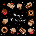International Cake Day. Vector illustration of an inscription among cupcakes, cakes, and donuts. July 20.
