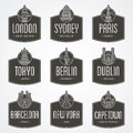 International city badges collection of for cities and the landmarks Stock Photo
