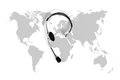 International contact concept , top view desk with headset and m Royalty Free Stock Photo