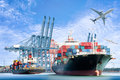 International Container Cargo ship and Cargo plane for logistic import export background
