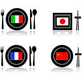 International cuisine icons for food and restaurants italian french japanese and chinese Royalty Free Stock Photo