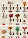 International cuisine set of cards with different countries kitchens Stock Photos