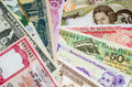 International currency banknotes different world countries Stock Photos