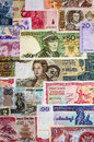 International currency with banknotes from different world countries Royalty Free Stock Photos