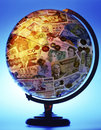 International currency global economy a globe of the world with Stock Images