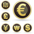 International currency icons on orb vector buttons Stock Image