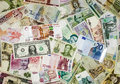 International currency mixed banknotes of Royalty Free Stock Photos