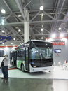International exhibition moscow september bus assembled in turkey by license of the japanese company isuzu at the comtrans on Royalty Free Stock Images