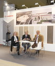 International exhibition unidentified businesspeople conclude contracts at the mosbuild april in moscow Royalty Free Stock Photography