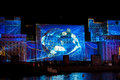 International festival circle of light laser video mapping show on facade of the ministry of defense in moscow russia october Royalty Free Stock Photography