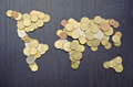 International finance global money map world map made of money coins Stock Photos