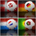 International flag on 3d football Stock Photography