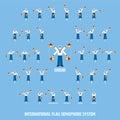 International Flag Semaphore System Vector Infographic