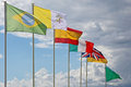 International flags on the blue sky Stock Photo