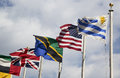 International flags in the front of united nations headquarter in new york city march on march Royalty Free Stock Image