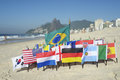 International Football Country Flags Rio de Janeiro Brazil Royalty Free Stock Photo