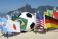 International football country flags soccer ball rio de janeiro brazil with on ipanema beach in Royalty Free Stock Image