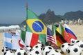 International football country flags soccer balls rio de janeiro brazil with on ipanema beach in Stock Image