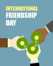 International friends day friends drinking beer top view clink of bottles vector illustration for holiday Stock Images