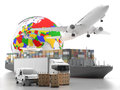 International goods transport with globe on background different means of urgent freight to a world map showing the european asian Royalty Free Stock Image