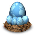 International investments and global finance savings business symbol with four blue eggs and a big one with maps of the world in a Royalty Free Stock Photography