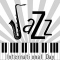 International Jazz Day. Piano keys. Lettering, saxophone Royalty Free Stock Photo