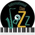 International Jazz Day. Piano keys, vinyl record, saxophone Royalty Free Stock Photo