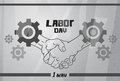 International Labor Day, Handshake Worker Agreement Concept Cogwheel Background