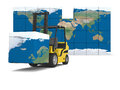 International logistics concept of modern yellow forklift carrying piece of global map on white background elements of this image Stock Images
