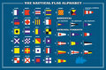 International maritime signal flags sea alphabet vector illustration Royalty Free Stock Photo