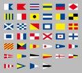 International maritime signal nautical flags, isolated on gray background