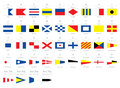 International maritime signal nautical flags, morse alphabet isolated on white background Royalty Free Stock Photo
