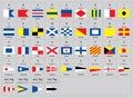 International maritime signal nautical flags, morse alphabet