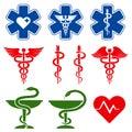International medical, pharmacy and emergency care vector symbols