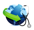 International medicine concept with a stethoscope illustration design over white Stock Photo