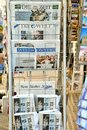 International newspapers stand in Italy Royalty Free Stock Photo