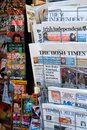International newspapers stand in Europe Royalty Free Stock Photo